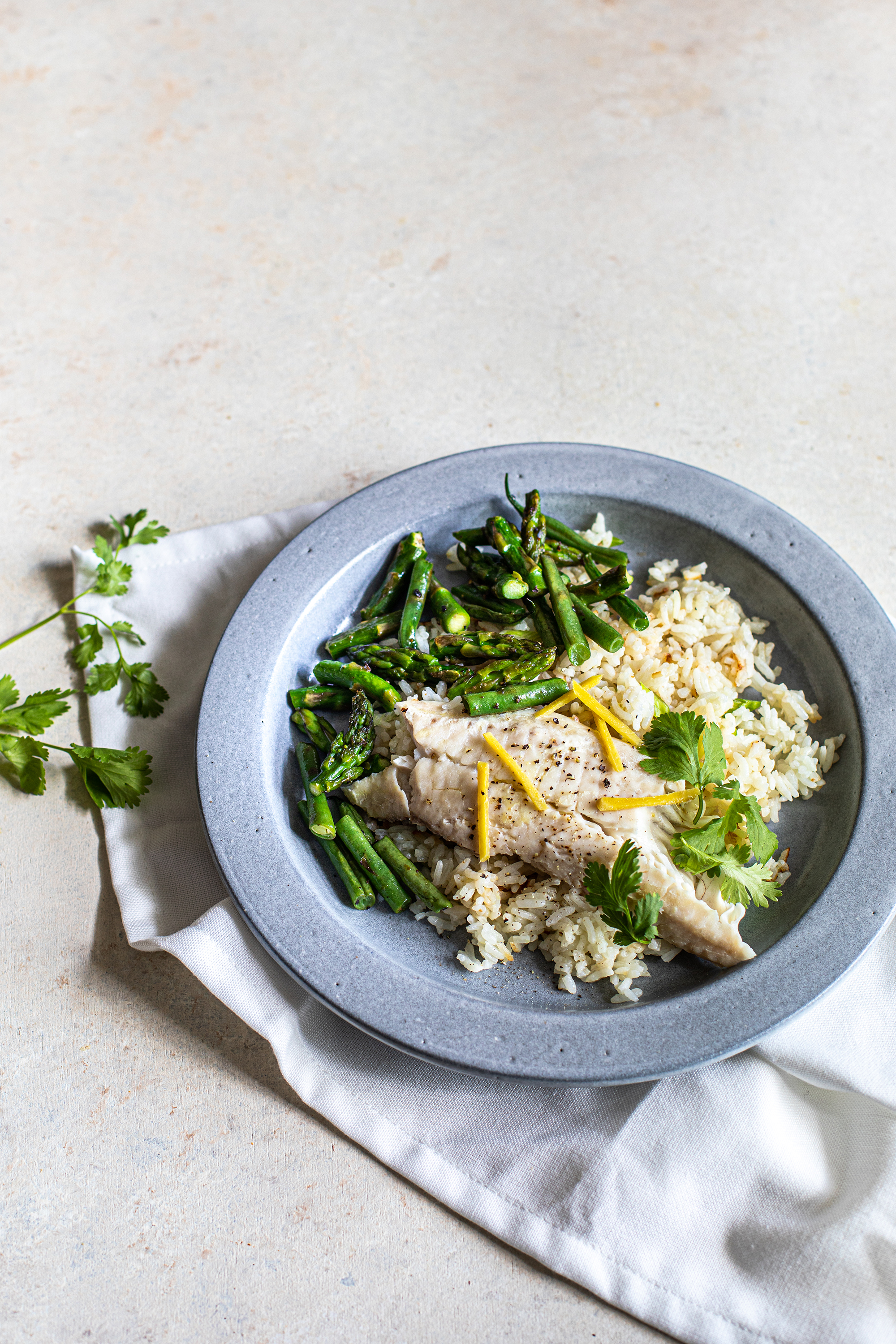 Rice cooker chinese steamed fish with Jasmine rice
